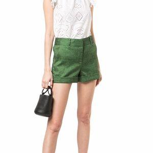 Veronica Beard Green Herringbone Linen Shorts